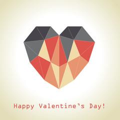 Polygonal heart fot Valentine's Day