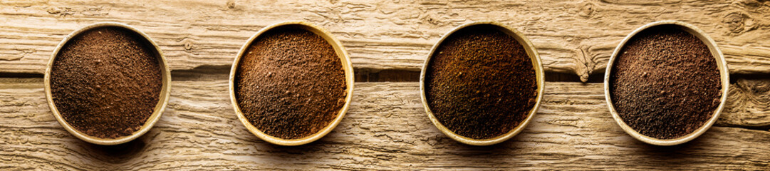 Varieties of freshly ground coffee powder