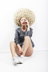 Vogue.  Image of Eccentric Fashion Model in Plaited Headdress