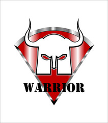 white warrior mask over the red shield