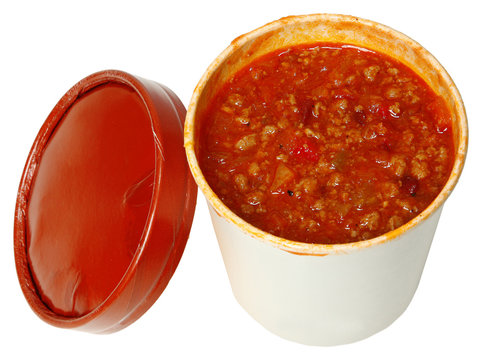 Spicy Chili in a Carryout Cardboard Cup