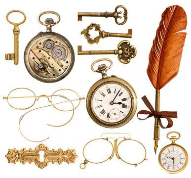 set of golden antique objects. old keys, clock, ink feather pen
