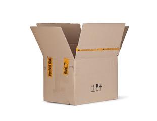Karton, Verpackung geöffnet.