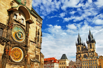 Deurstickers Praag Prague, Czech Republic - view of square and astronomical clock