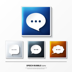 Set of glossy vector icons on button with speech bubbles.