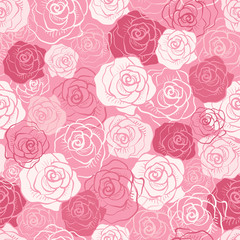 Rose vector seamless pattern.