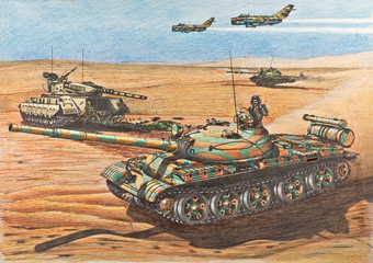 Syrian T-62 tanks attacked positions of Israelis