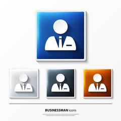 Set of glossy vector icons on button with businessman.