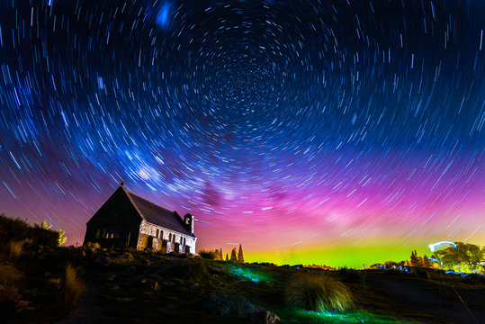 Star trails and Aurora light at Church of the Good Shepherd, Lak