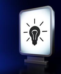 Business concept: Light Bulb on billboard background