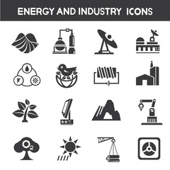 energy icons, industry icons, power icons