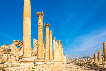 The Cardo Colonnaded Street in Jerash, Jordan.