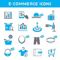 e commerce icons, blue color theme icons