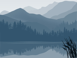 Wall Murals Pale violet blue and grey lake in mountain forest