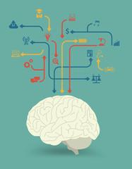 Vector creative brain with education icon concept design
