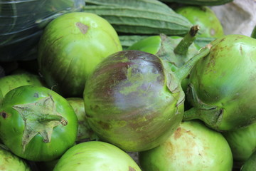 Local Green Eggplant for Sale in Myanmar Market