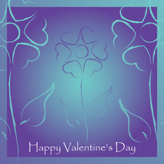 Valentine's day card with stylized flowers hearts