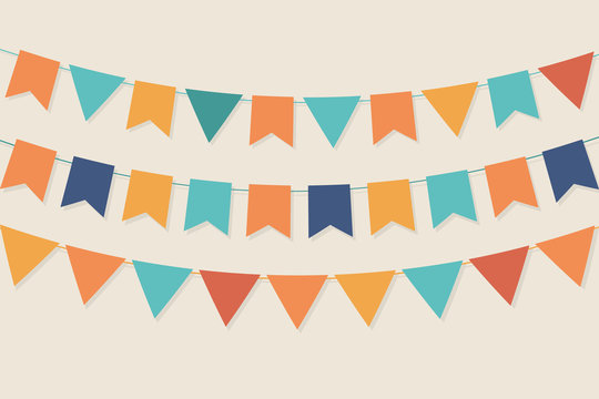 Vector party flags in pastel palette