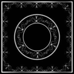 black background with silver ornament for your design