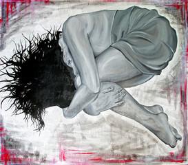 Original oil painting of depressive woman