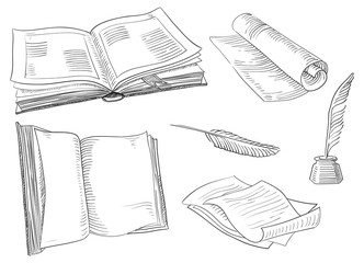 Vector old  books and antique objects at engraving style.