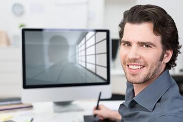 architekt arbeitet am computer
