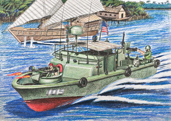 U.S. patrol boat conducting inspections Vietnamese junks