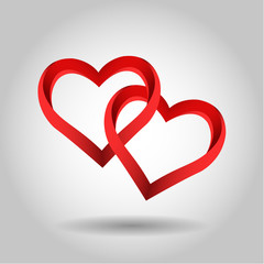 Big Vector Red Hearts