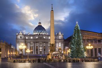 Fototapete - Basilique Saint-pierre de Rome à Noël