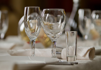 Fine Crystal Table Setting at a Restaurant
