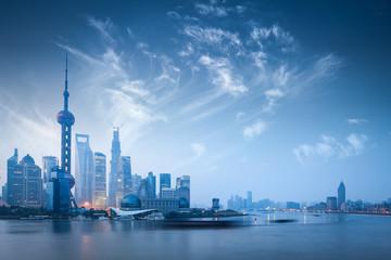 Aluminium Prints Shanghai shanghai skyline in dawn