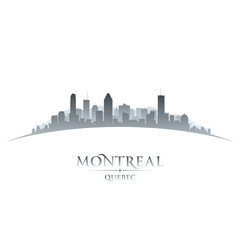 Montreal Quebec Canada city skyline silhouette white background