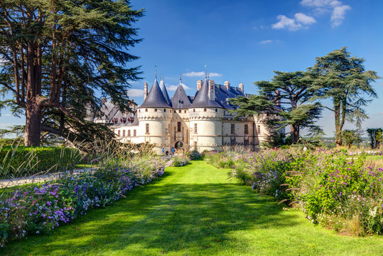 Chaumont-sur-Loire, old castle in Loire Valley, France. Landscape in summer.