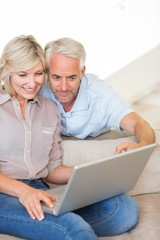 Mature couple using laptop on sofa at home
