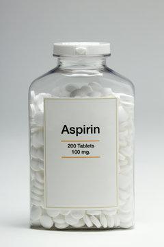 Bottle of aspirin, vertical