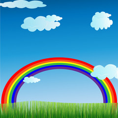 Cartoon-Rainbow and Grass