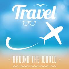 Travel around the world vector postcard