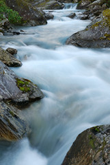 Mountain water stream at long shutter speed.