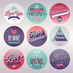 Wall Mural - Valentine`s day set - emblems and other decorative elements