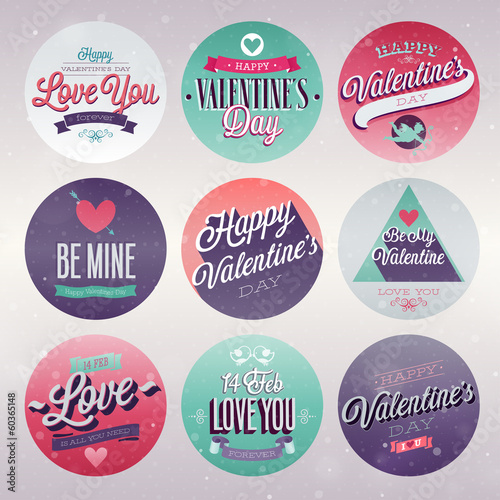 Wall mural Valentine`s day set - emblems and other decorative elements