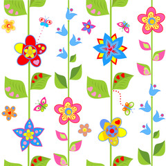 Spring wrapping with funny flowers
