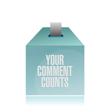 your comment counts. suggestion box illustration