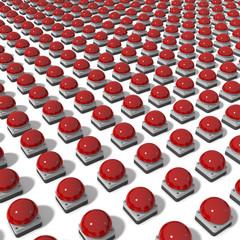 Gruppe roter Buzzer im Raster auf Ebene, 3d Rendering