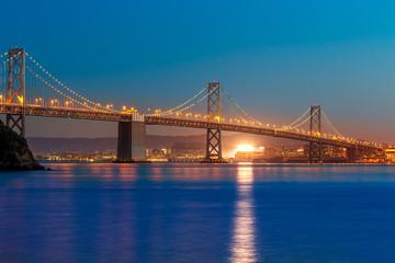 Bay Bridge at sunset in San Francisco California