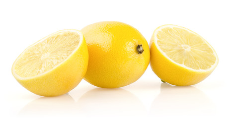 Lemon with Half on White Background