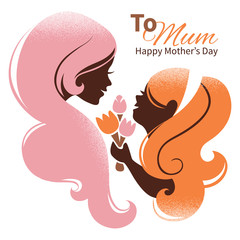 Card of Happy Mother's Day. Beautiful mother silhouette with her