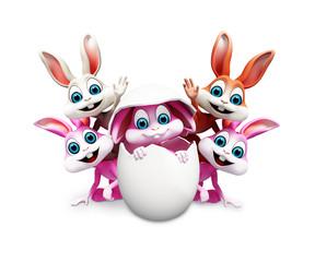 Happy bunny is inside egg