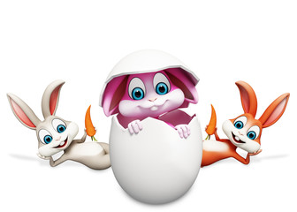 Happy bunny inside egg with caroot