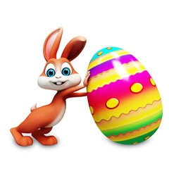 Easter happy bunny with big color eggs
