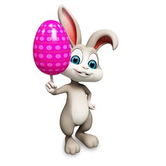 happy bunny with big colorful egg